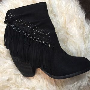 Not Rated Black Fringed Booties Sz 9